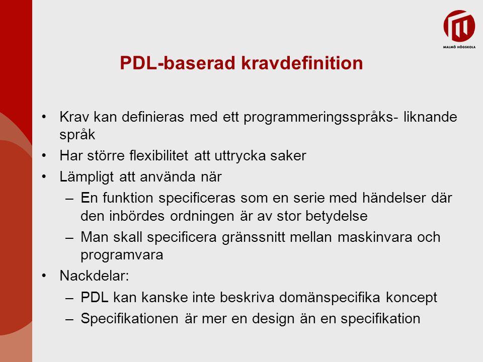 PDL-baserad kravdefinition Krav kan definieras med ett programmeringsspråks- liknande språk Har större flexibilitet att uttrycka saker Lämpligt att an