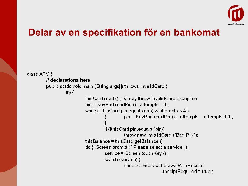 Delar av en specifikation för en bankomat