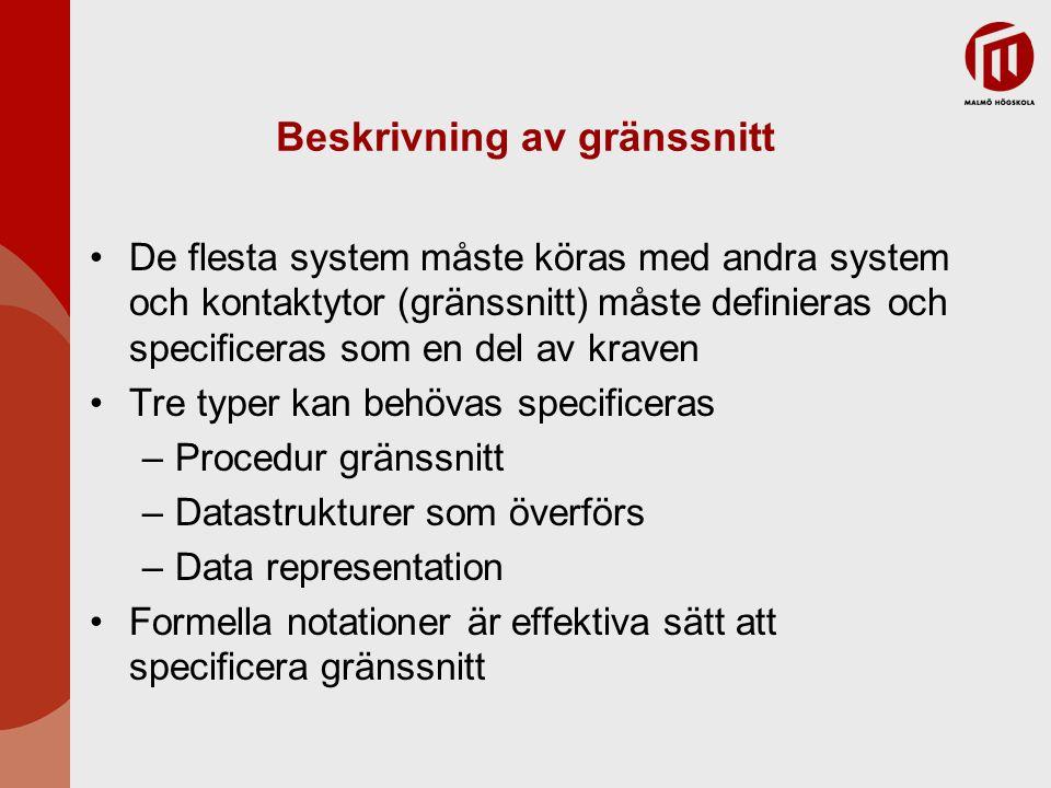 Beskrivning av gränssnitt De flesta system måste köras med andra system och kontaktytor (gränssnitt) måste definieras och specificeras som en del av k