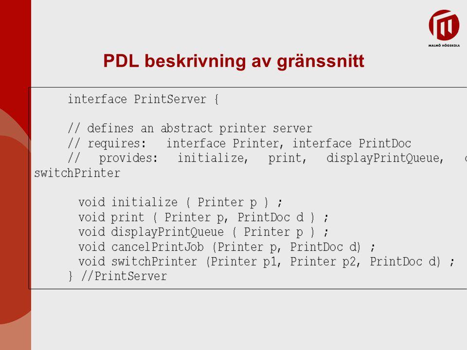 PDL beskrivning av gränssnitt