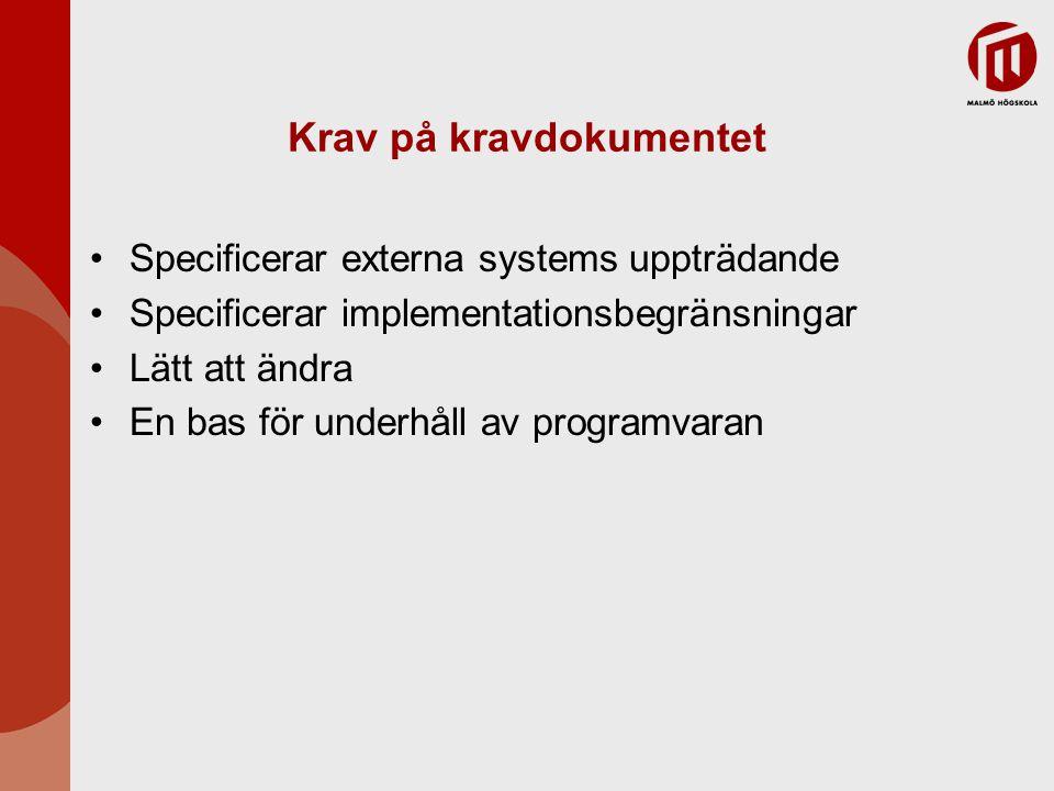 Krav på kravdokumentet Specificerar externa systems uppträdande Specificerar implementationsbegränsningar Lätt att ändra En bas för underhåll av progr