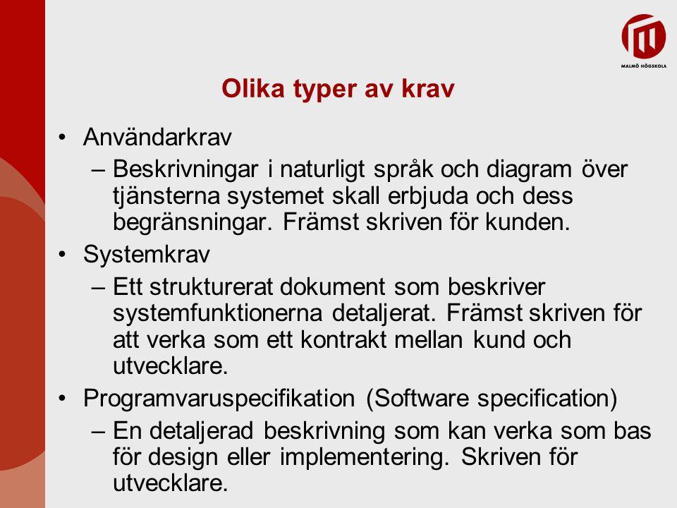 Olika typer av krav Användarkrav –Beskrivningar i naturligt språk och diagram över tjänsterna systemet skall erbjuda och dess begränsningar. Främst sk