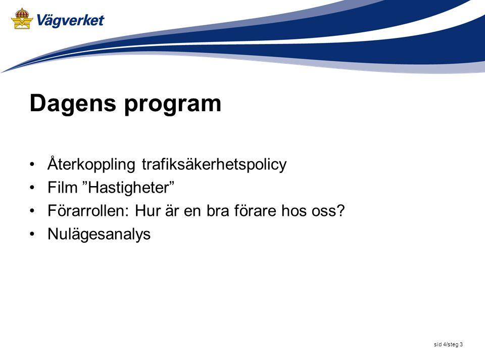 sid 4/steg 3 Dagens program Återkoppling trafiksäkerhetspolicy Film Hastigheter Förarrollen: Hur är en bra förare hos oss.