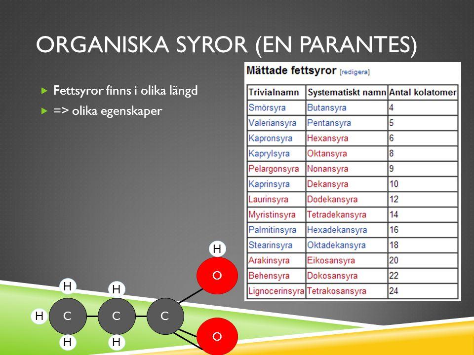 ORGANISKA SYROR (EN PARANTES)  Fettsyror finns i olika längd  => olika egenskaper CCC O O HH H H H H