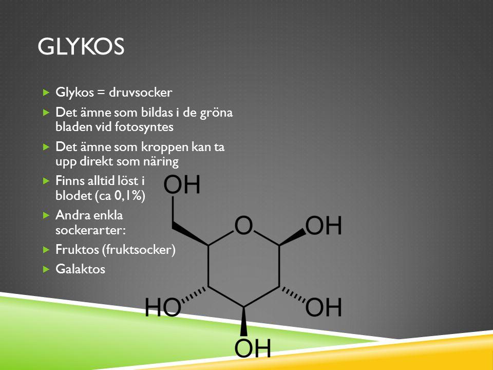JÄMFÖRELSE ENKLA SOCKERARTER GlykosFruktos  Kemisk formel C 6 H 12 O 6  Utgörs av en 6-kant  Kan tas upp direkt av cellerna som näring  Kemisk formel C 6 H 12 O 6  Utgörs av en 5-kant  Kan endast brytas ner i levern