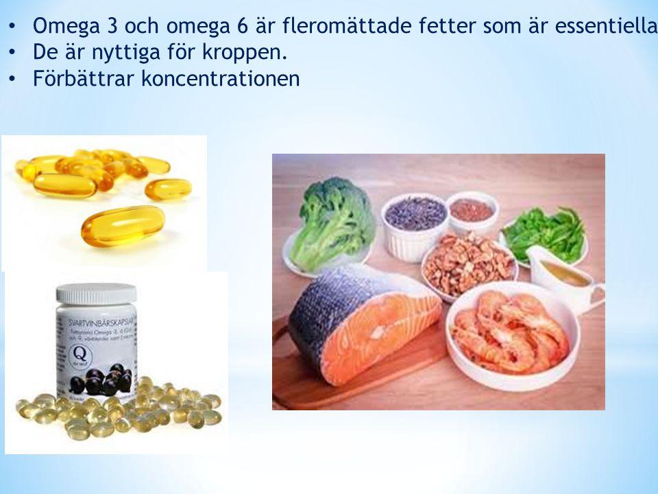 Omega 3 och omega 6 är fleromättade fetter som är essentiella De är nyttiga för kroppen. Förbättrar koncentrationen