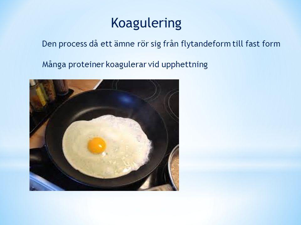 Den process då ett ämne rör sig från flytandeform till fast form Koagulering Många proteiner koagulerar vid upphettning