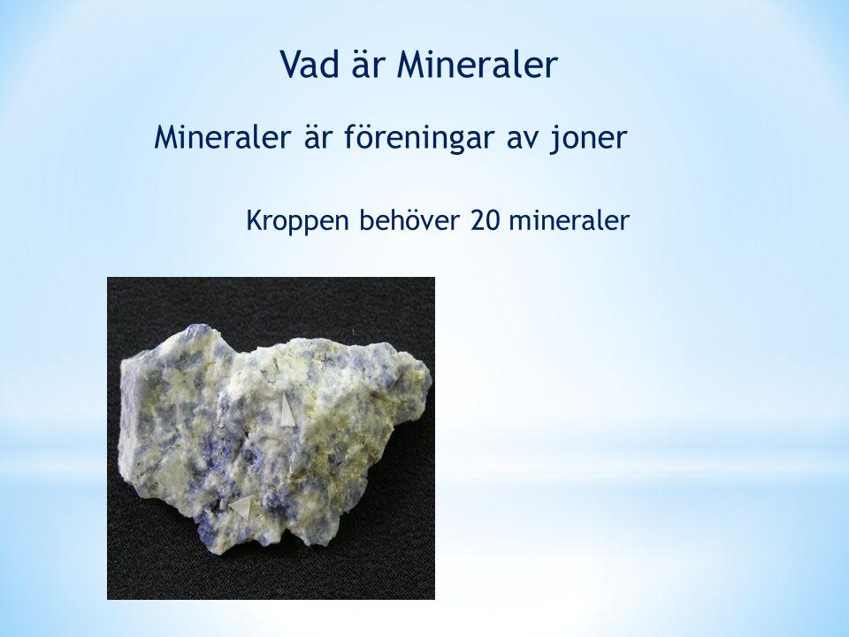 Mineraler är föreningar av joner Kroppen behöver 20 mineraler Vad är Mineraler
