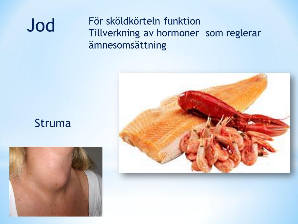 För sköldkörteln funktion Tillverkning av hormoner som reglerar ämnesomsättning Jod Struma