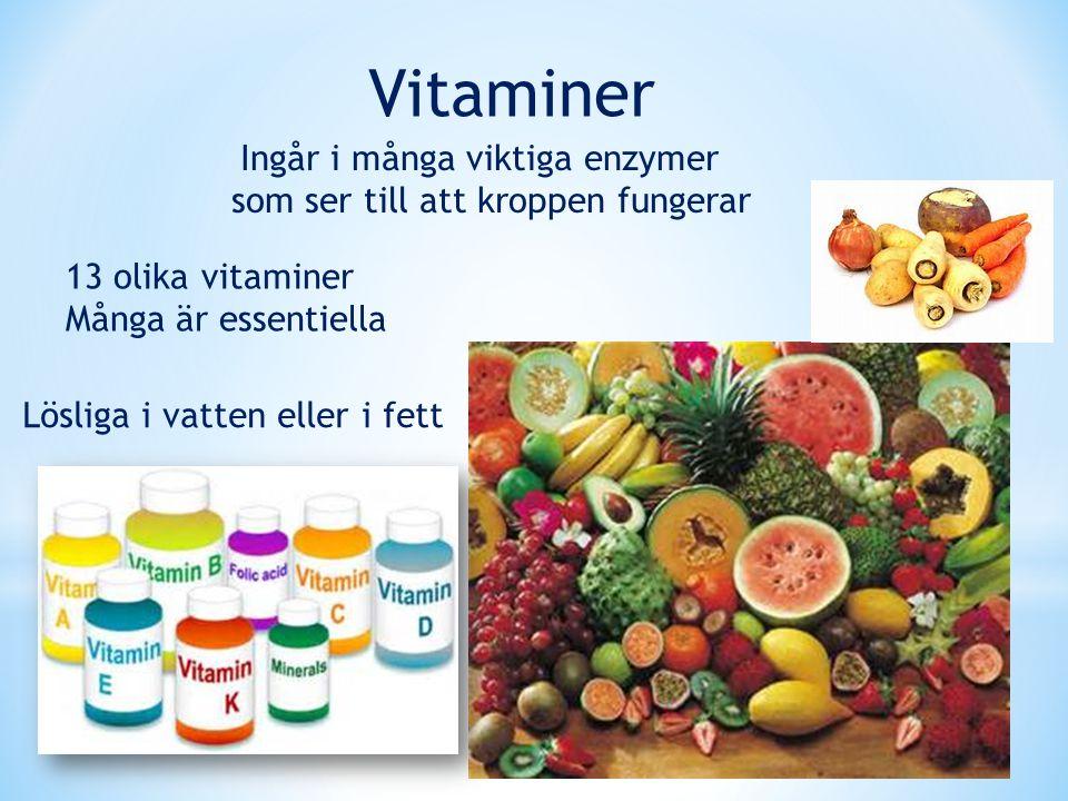 Vitaminer 13 olika vitaminer Många är essentiella Ingår i många viktiga enzymer som ser till att kroppen fungerar Lösliga i vatten eller i fett