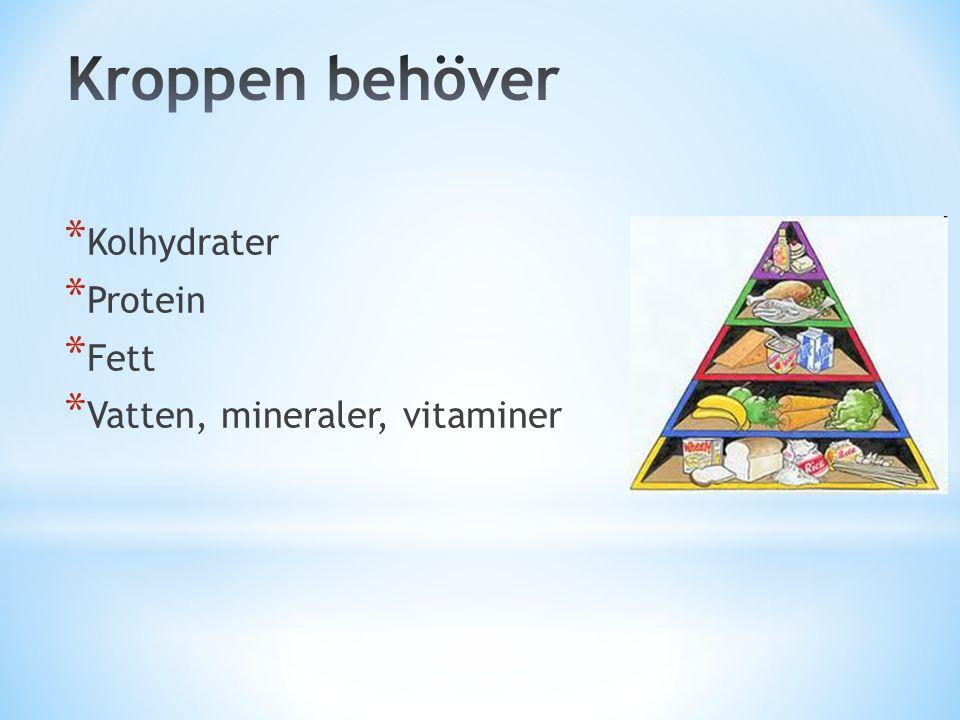 * Kolhydrater * Protein * Fett * Vatten, mineraler, vitaminer
