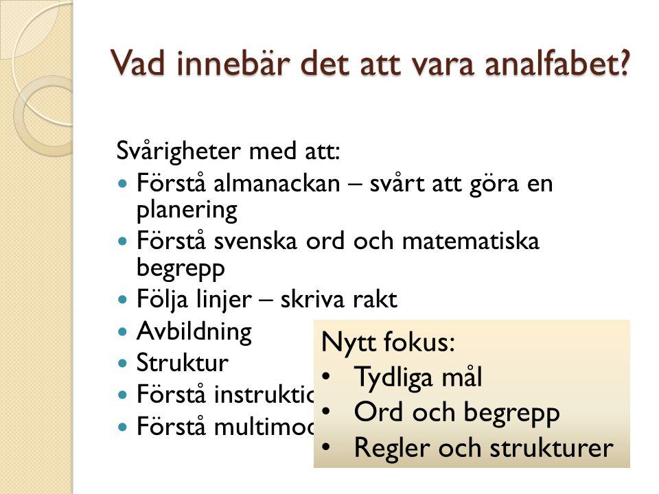 Vad innebär det att vara analfabet? Svårigheter med att: Förstå almanackan – svårt att göra en planering Förstå svenska ord och matematiska begrepp Fö