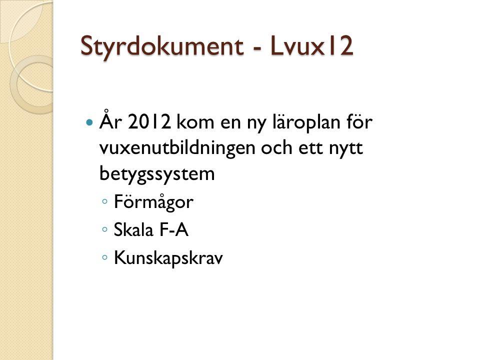 Styrdokument - Lvux12 År 2012 kom en ny läroplan för vuxenutbildningen och ett nytt betygssystem ◦ Förmågor ◦ Skala F-A ◦ Kunskapskrav
