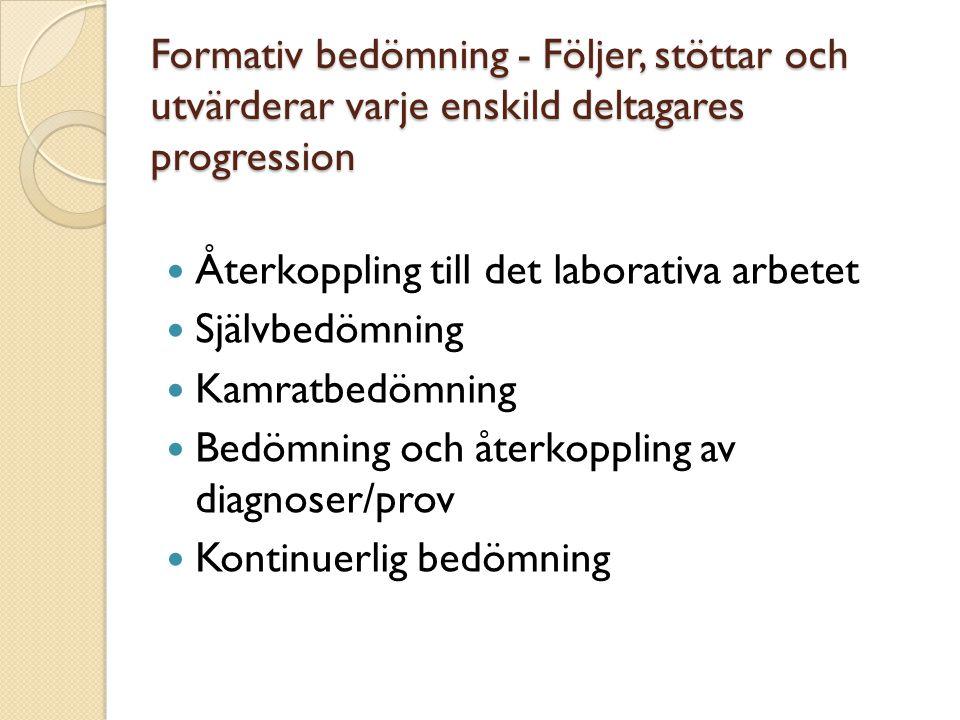 Formativ bedömning - Följer, stöttar och utvärderar varje enskild deltagares progression Återkoppling till det laborativa arbetet Självbedömning Kamra