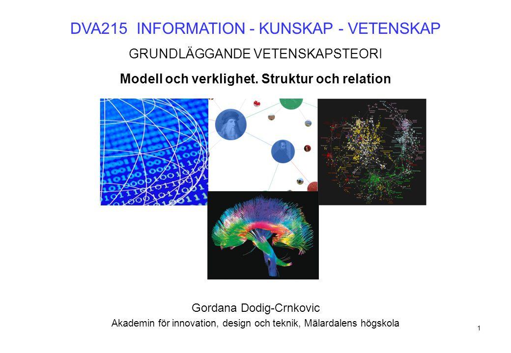 1 DVA215 INFORMATION - KUNSKAP - VETENSKAP GRUNDLÄGGANDE VETENSKAPSTEORI Modell och verklighet. Struktur och relation Gordana Dodig-Crnkovic Akademin