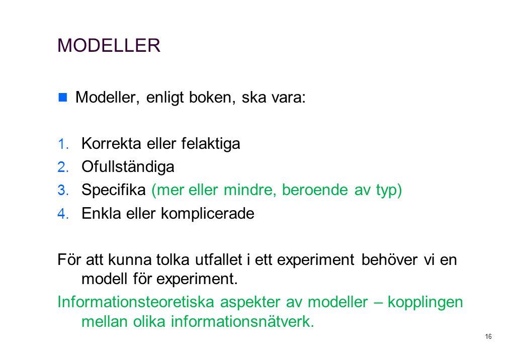 MODELLER Modeller, enligt boken, ska vara: 1. Korrekta eller felaktiga 2. Ofullständiga 3. Specifika (mer eller mindre, beroende av typ) 4. Enkla elle