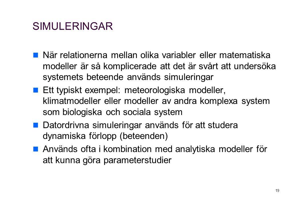 SIMULERINGAR När relationerna mellan olika variabler eller matematiska modeller är så komplicerade att det är svårt att undersöka systemets beteende a