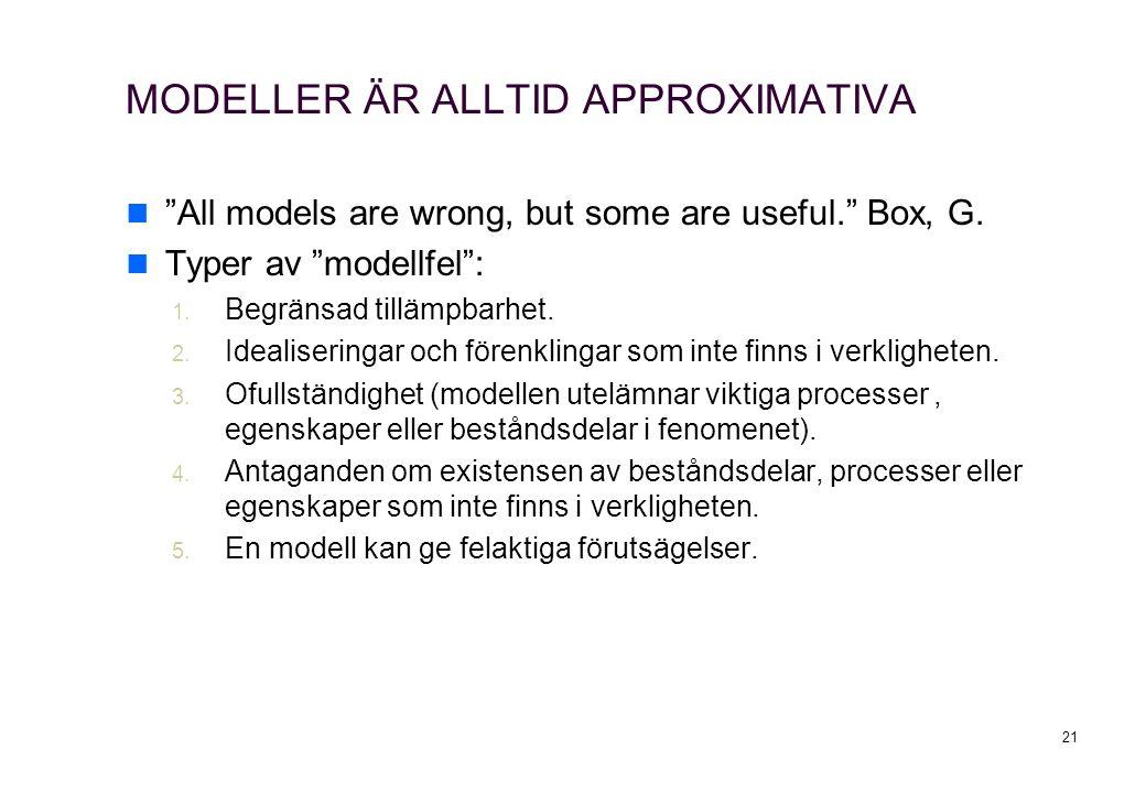 """MODELLER ÄR ALLTID APPROXIMATIVA """"All models are wrong, but some are useful."""" Box, G. Typer av """"modellfel"""": 1. Begränsad tillämpbarhet. 2. Idealiserin"""