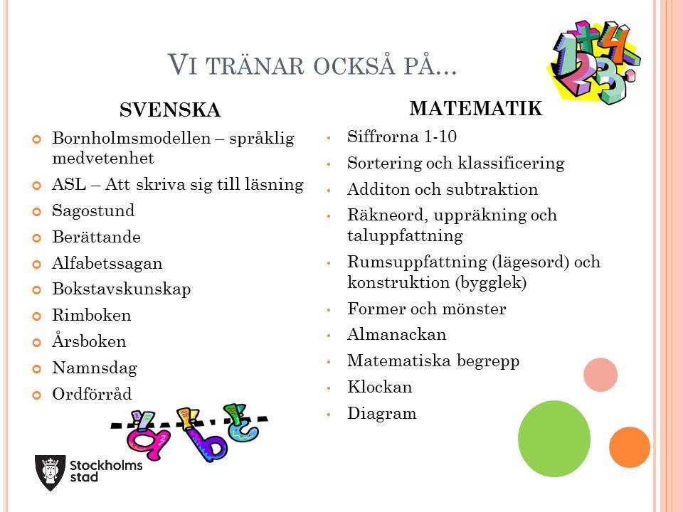 V I TRÄNAR OCKSÅ PÅ... SVENSKA Bornholmsmodellen – språklig medvetenhet ASL – Att skriva sig till läsning Sagostund Berättande Alfabetssagan Bokstavsk