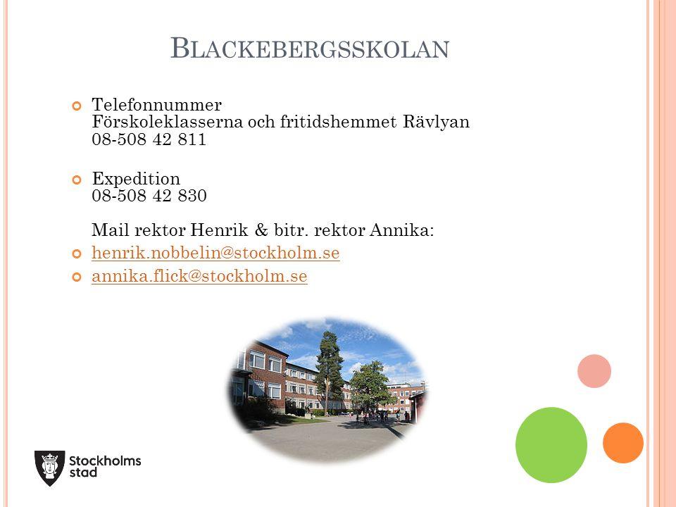 Telefonnummer Förskoleklasserna och fritidshemmet Rävlyan 08-508 42 811 Expedition 08-508 42 830 Mail rektor Henrik & bitr.