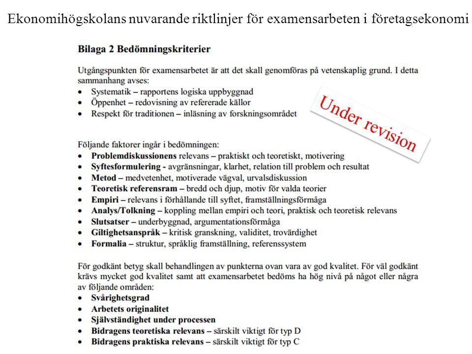 Ekonomihögskolans nuvarande riktlinjer för examensarbeten i företagsekonomi Under revision