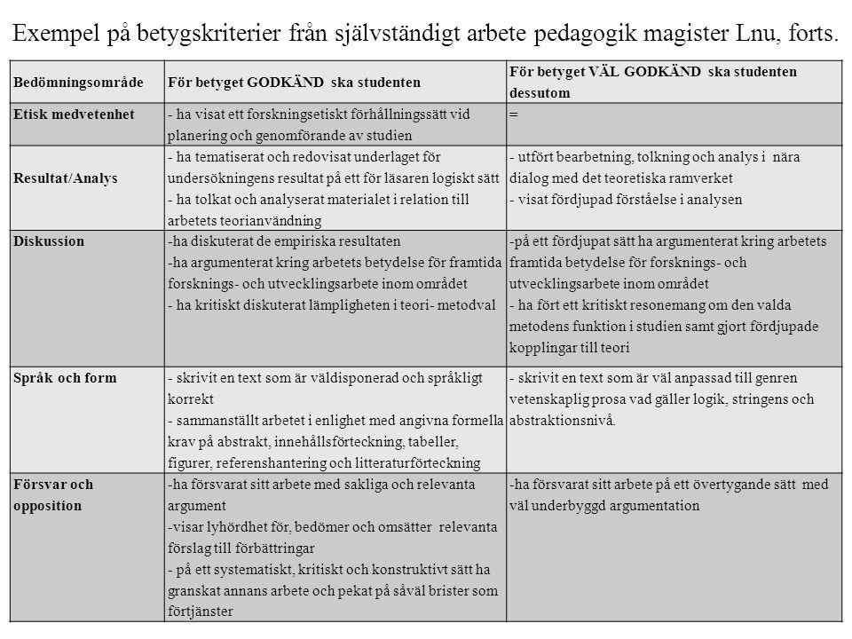Exempel på betygskriterier från självständigt arbete pedagogik magister Lnu, forts. Bedömningsområde För betyget GODKÄND ska studenten För betyget VÄL