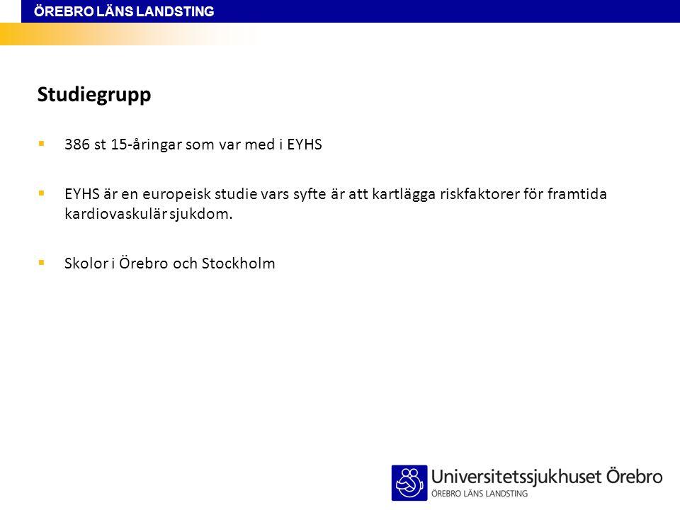 ÖREBRO LÄNS LANDSTING Studiegrupp  386 st 15-åringar som var med i EYHS  EYHS är en europeisk studie vars syfte är att kartlägga riskfaktorer för fr