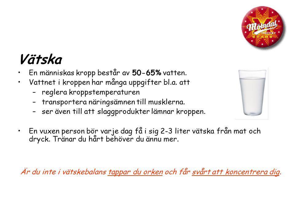 Vätska En människas kropp består av 50-65% vatten. Vattnet i kroppen har många uppgifter bl.a. att –reglera kroppstemperaturen –transportera näringsäm