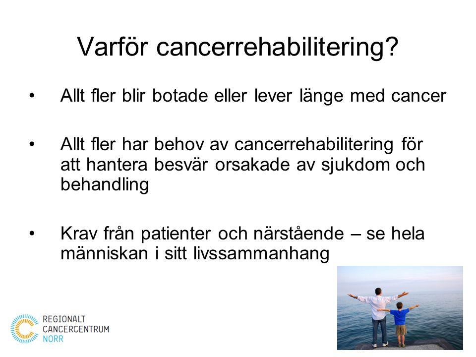 Varför cancerrehabilitering? Allt fler blir botade eller lever länge med cancer Allt fler har behov av cancerrehabilitering för att hantera besvär ors