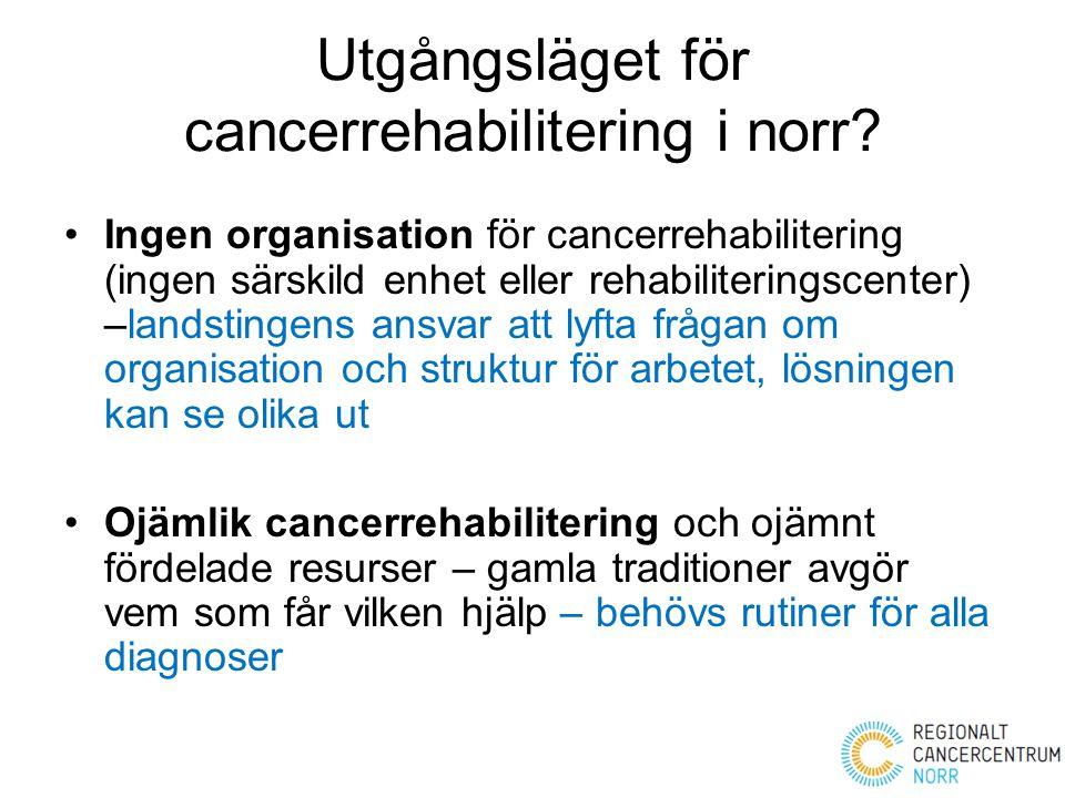 Utgångsläget för cancerrehabilitering i norr? Ingen organisation för cancerrehabilitering (ingen särskild enhet eller rehabiliteringscenter) –landstin