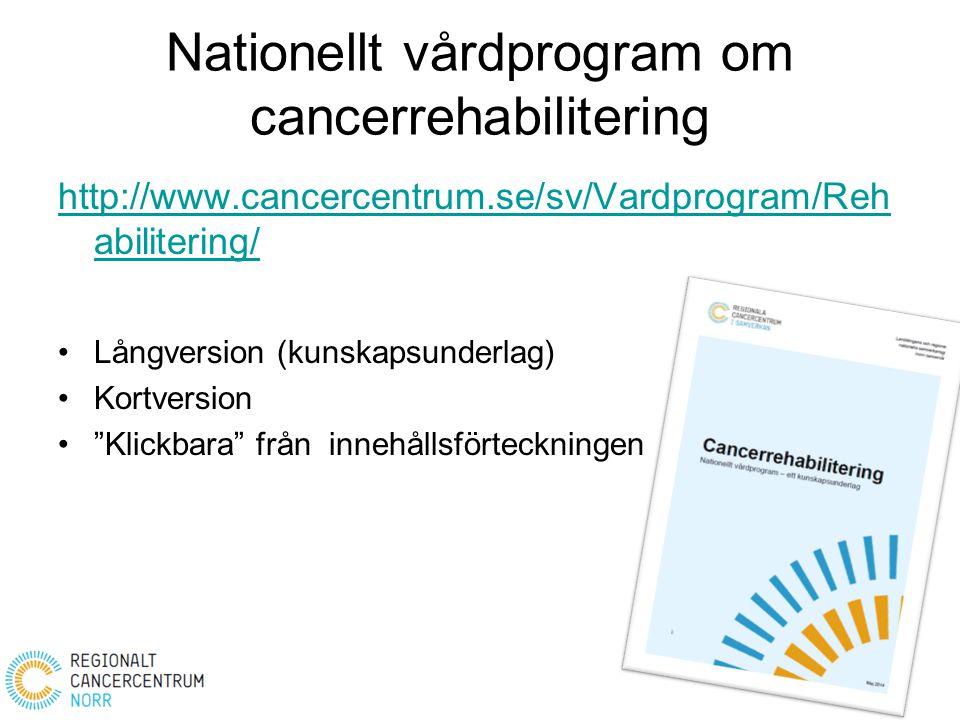 Nationellt vårdprogram om cancerrehabilitering http://www.cancercentrum.se/sv/Vardprogram/Reh abilitering/ Långversion (kunskapsunderlag) Kortversion