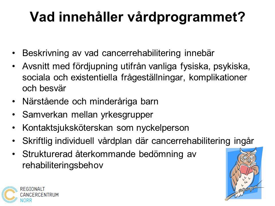 Vad innehåller vårdprogrammet? Beskrivning av vad cancerrehabilitering innebär Avsnitt med fördjupning utifrån vanliga fysiska, psykiska, sociala och