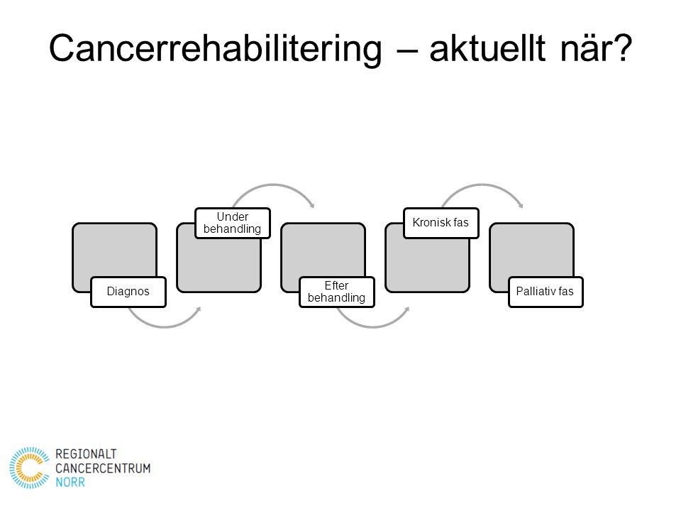 Cancerrehabilitering – aktuellt när? Diagnos Under behandling Efter behandling Kronisk fasPalliativ fas