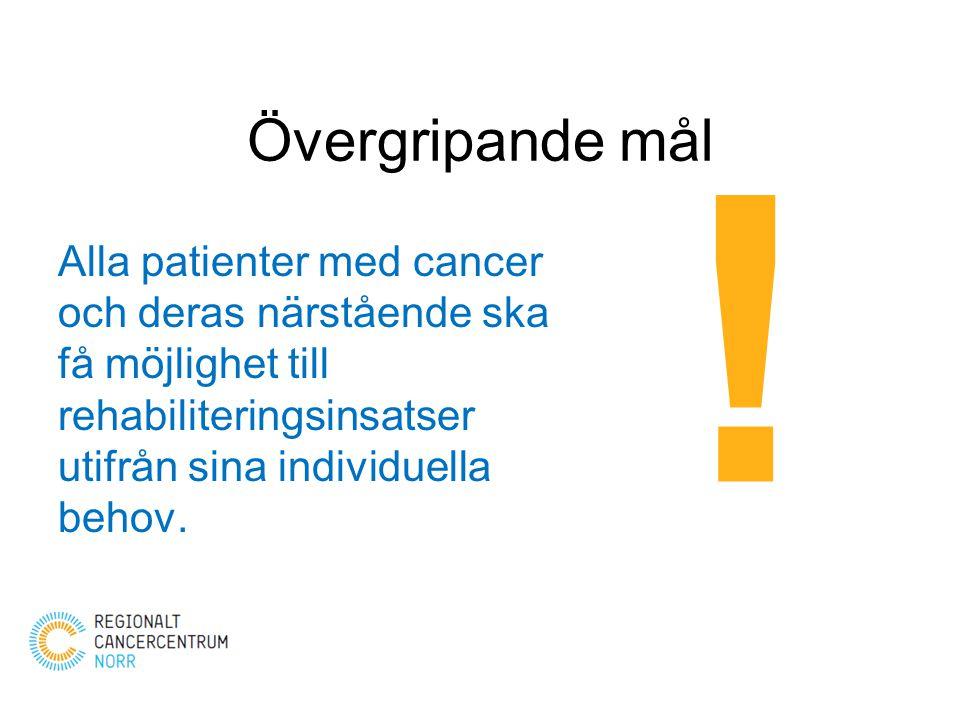 Övergripande mål Alla patienter med cancer och deras närstående ska få möjlighet till rehabiliteringsinsatser utifrån sina individuella behov. !