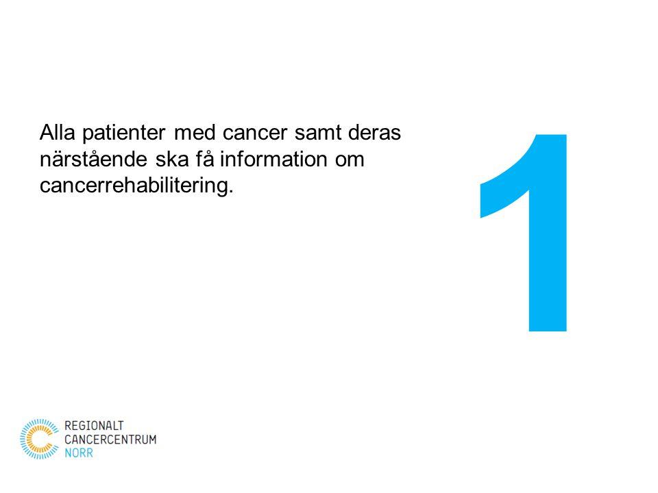 Alla patienter med cancer samt deras närstående ska få information om cancerrehabilitering. 1