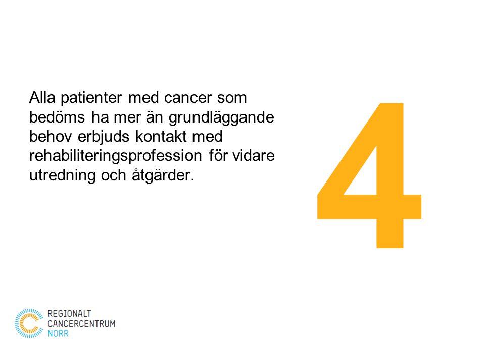 Alla patienter med cancer som bedöms ha mer än grundläggande behov erbjuds kontakt med rehabiliteringsprofession för vidare utredning och åtgärder. 4
