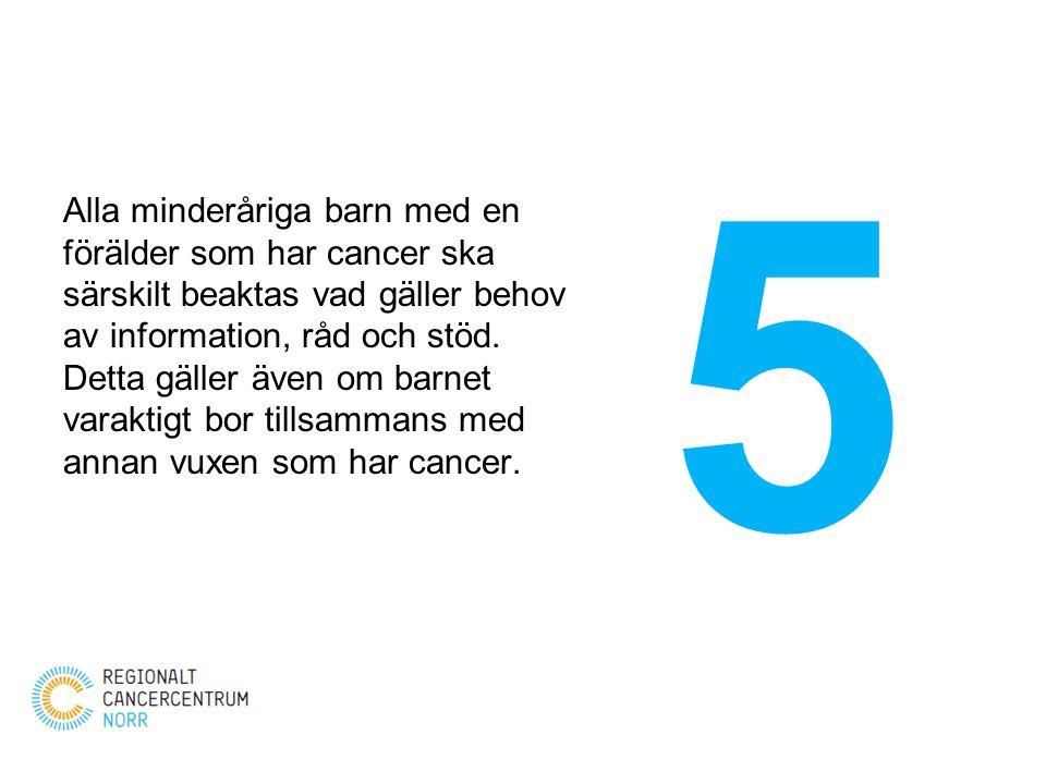 Alla minderåriga barn med en förälder som har cancer ska särskilt beaktas vad gäller behov av information, råd och stöd. Detta gäller även om barnet v