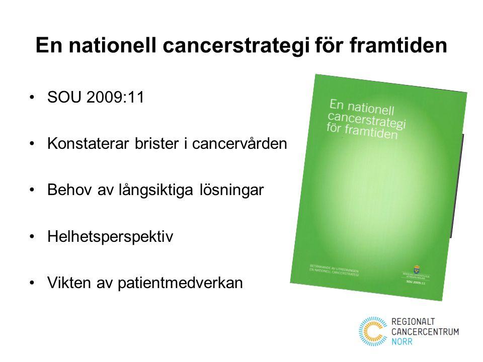 En nationell cancerstrategi för framtiden SOU 2009:11 Konstaterar brister i cancervården Behov av långsiktiga lösningar Helhetsperspektiv Vikten av pa