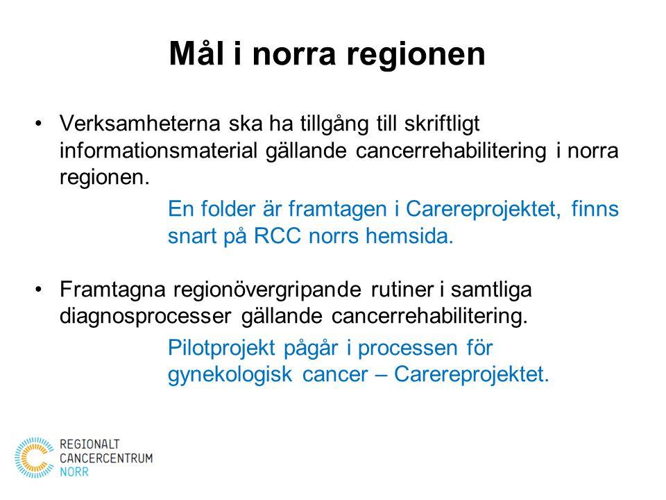 Mål i norra regionen Verksamheterna ska ha tillgång till skriftligt informationsmaterial gällande cancerrehabilitering i norra regionen. En folder är