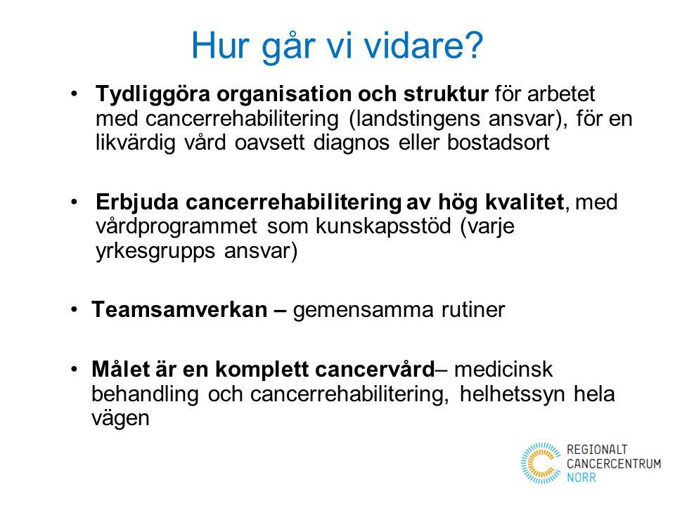 Hur går vi vidare? Tydliggöra organisation och struktur för arbetet med cancerrehabilitering (landstingens ansvar), för en likvärdig vård oavsett diag