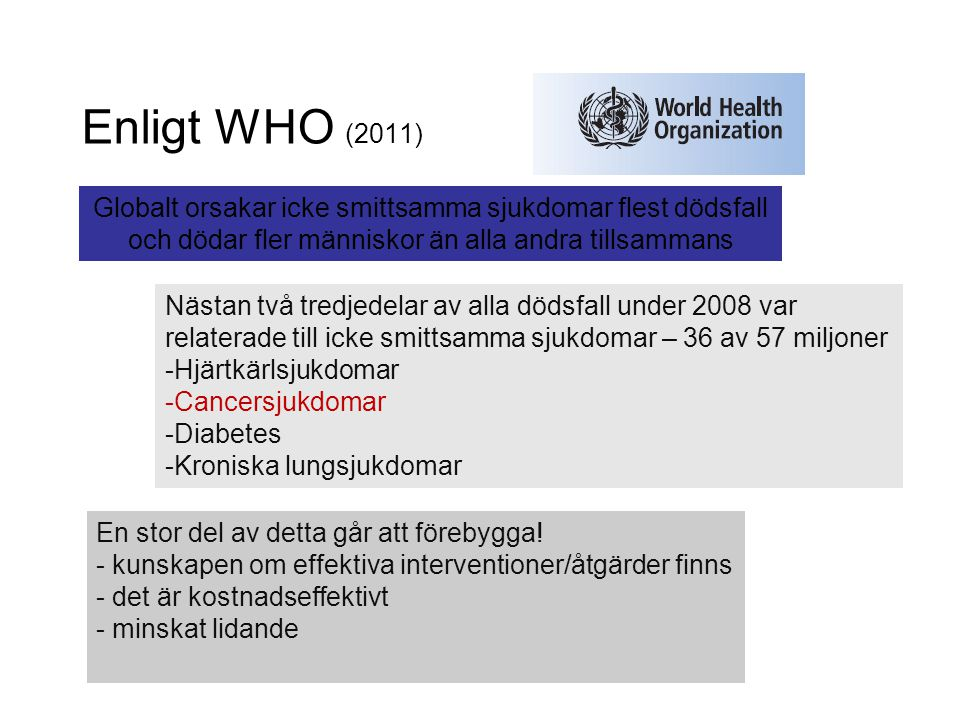 Enligt WHO (2011) Globalt orsakar icke smittsamma sjukdomar flest dödsfall och dödar fler människor än alla andra tillsammans Nästan två tredjedelar a