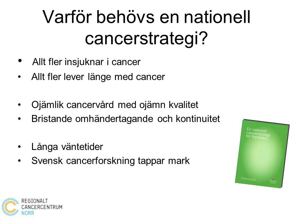 Varför behövs en nationell cancerstrategi? Allt fler insjuknar i cancer Allt fler lever länge med cancer Ojämlik cancervård med ojämn kvalitet Bristan