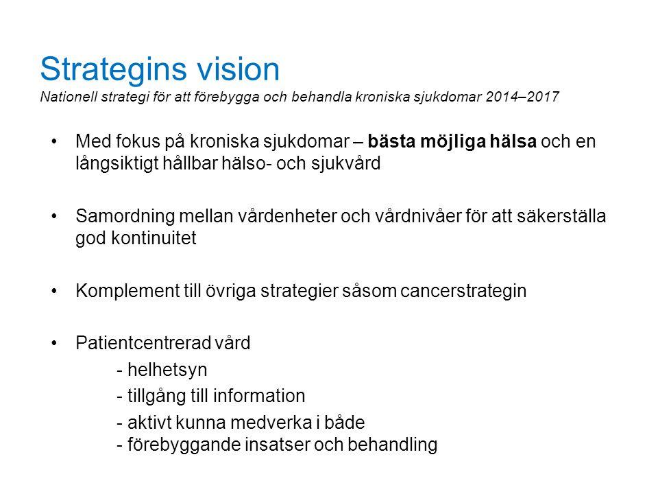 Strategins vision Nationell strategi för att förebygga och behandla kroniska sjukdomar 2014–2017 Med fokus på kroniska sjukdomar – bästa möjliga hälsa