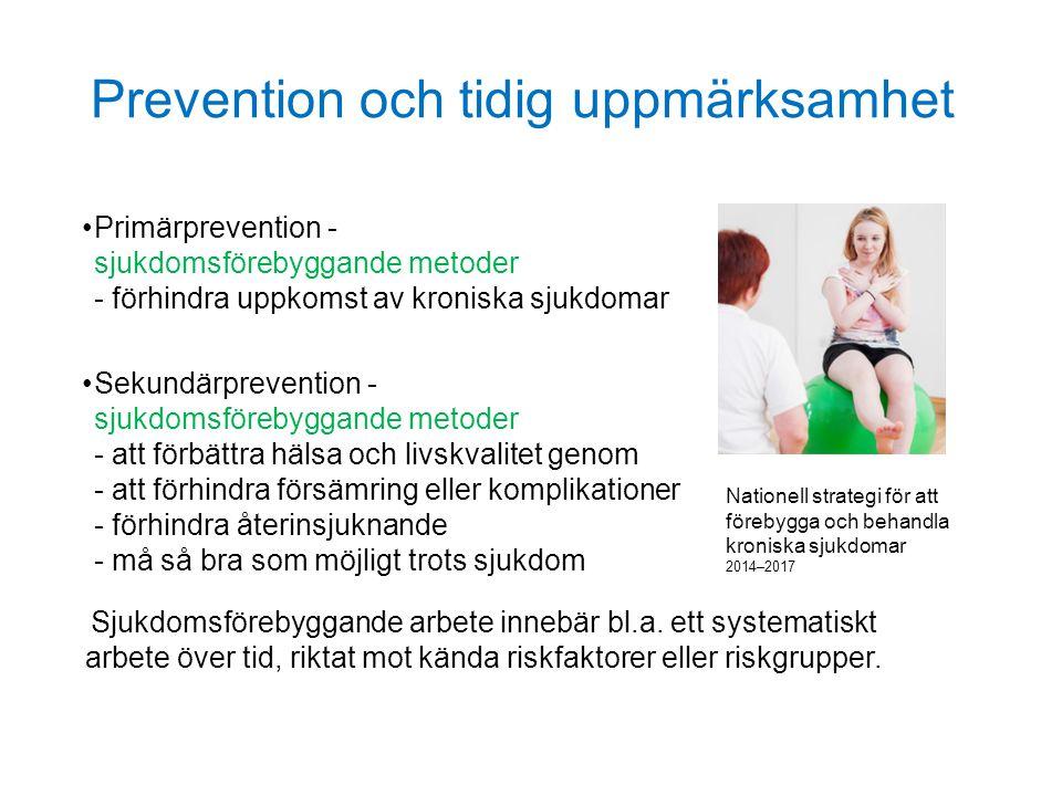 Prevention och tidig uppmärksamhet Primärprevention - sjukdomsförebyggande metoder - förhindra uppkomst av kroniska sjukdomar Sekundärprevention - sju