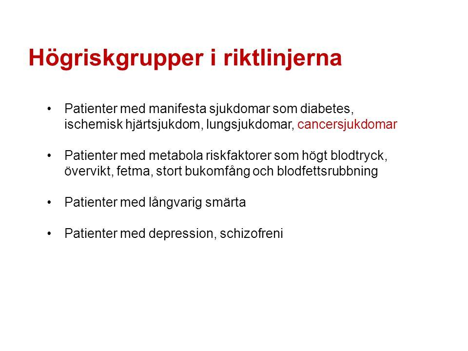 Högriskgrupper i riktlinjerna Patienter med manifesta sjukdomar som diabetes, ischemisk hjärtsjukdom, lungsjukdomar, cancersjukdomar Patienter med met