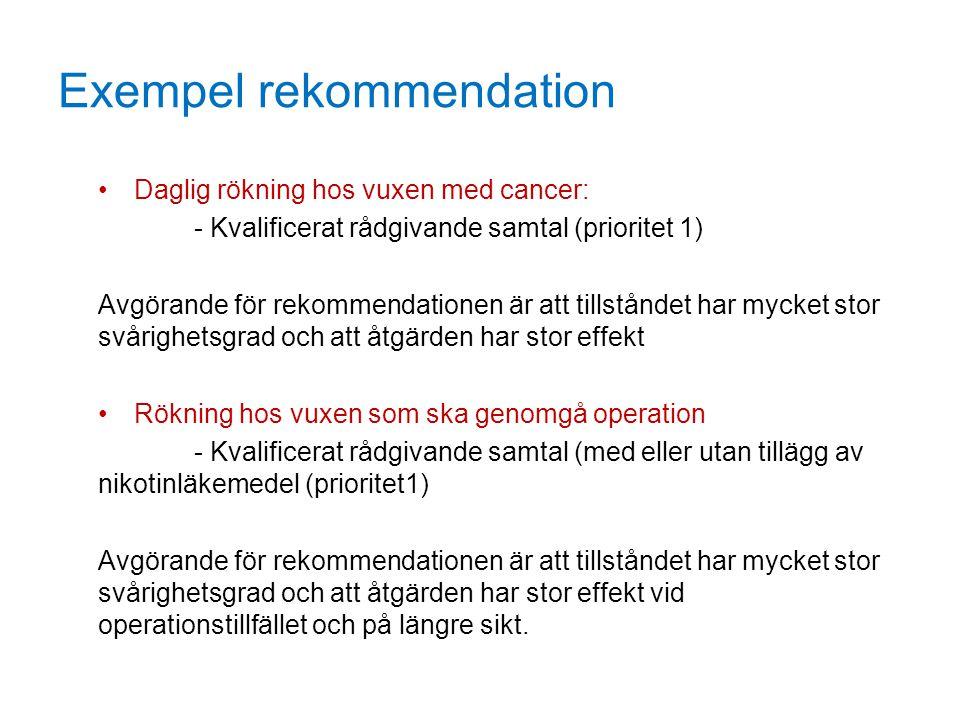 Exempel rekommendation Daglig rökning hos vuxen med cancer: - Kvalificerat rådgivande samtal (prioritet 1) Avgörande för rekommendationen är att tills