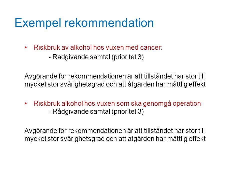 Exempel rekommendation Riskbruk av alkohol hos vuxen med cancer: - Rådgivande samtal (prioritet 3) Avgörande för rekommendationen är att tillståndet h