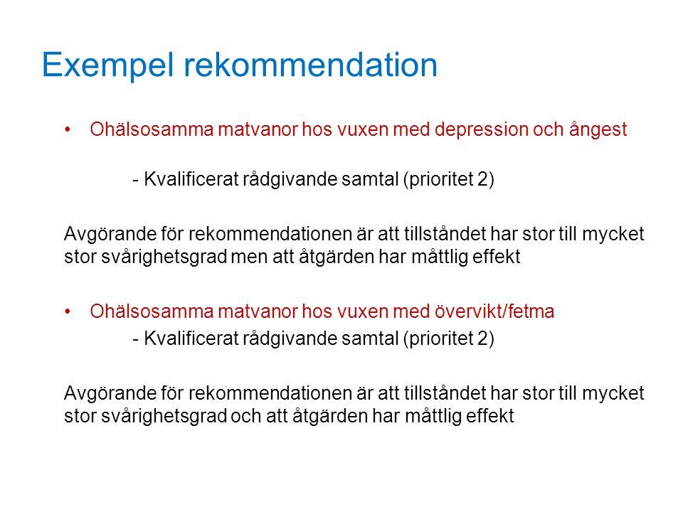 Exempel rekommendation Ohälsosamma matvanor hos vuxen med depression och ångest - Kvalificerat rådgivande samtal (prioritet 2) Avgörande för rekommend