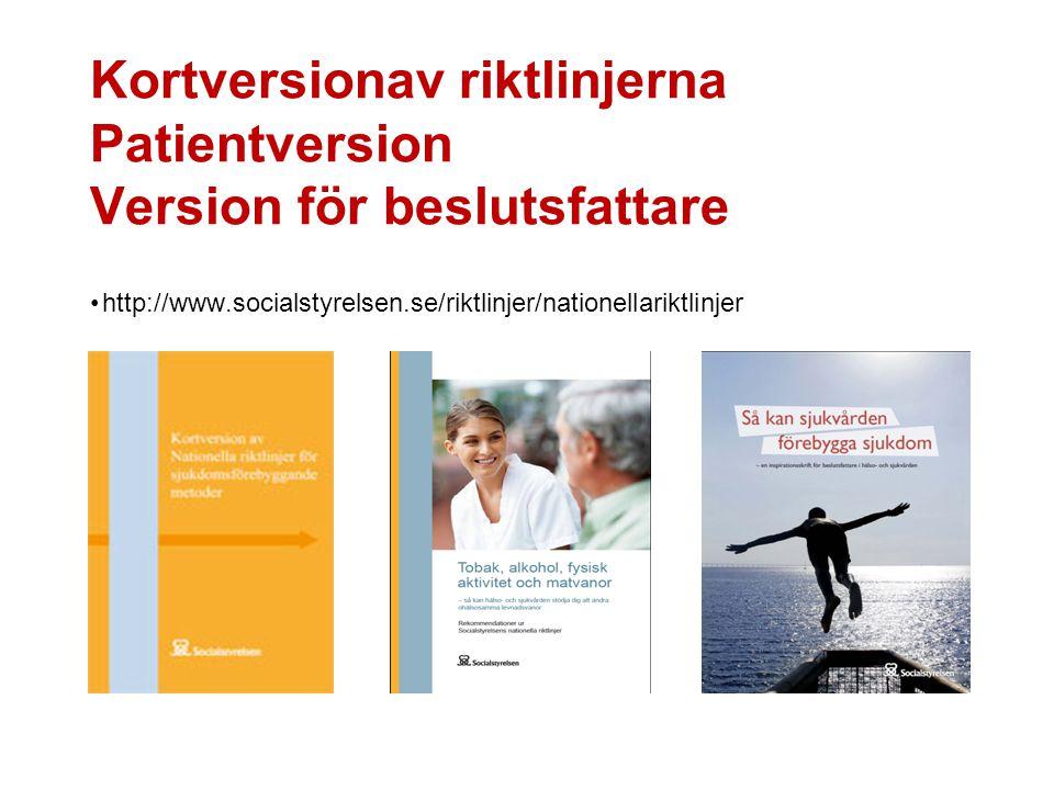 Kortversionav riktlinjerna Patientversion Version för beslutsfattare http://www.socialstyrelsen.se/riktlinjer/nationellariktlinjer