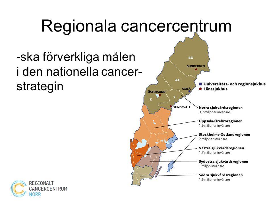 Regionala cancercentrum -ska förverkliga målen i den nationella cancer- strategin